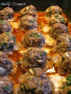 Kelly Craves...: Smoked Mozzarella Stuffed Meatballs  (this was really great) FREEZE THE MOZERELLA CUBES PRIOR TO BAKING