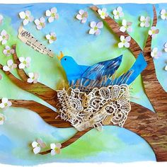 """""""A flash of blue feathers will catch your eye, as a brilliant bluebird swoops nearby. A cheery call will comfort your ear, it's sweet soft song is a treat to hear.""""- World of Birds. Inspired by the beauty and magic of nature, in this lesson plan students will learn collage techniques to create a very special piece of artwork celebrating spring. The long sunny days are upon us now in So Cal, and our Wisteria is in bloom. Happy Spring folks!! #spring, #birds, #nesting, #dogwood, ..."""
