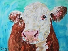 """Original Art Painting on Canvas """"Hereford Cow"""" Cow Painting Brown and White 