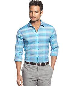 INC International Concepts Shirt, Long Sleeve Archway Plaid Shirt - Shirts - Men - Macy's