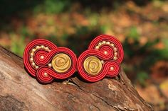 Red roses soutache earring.
