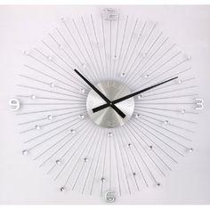Chrome Mid Century Starburst Clock