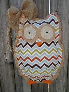 Owl Burlap Door Hanger Door Decoration Mixed Media Chevron Pattern