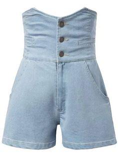 Solid Color High Waist Denim Shorts - LIGHT BLUE M