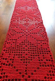 SALE Christmas table runner - crochet doily - crochet tablecloth - Christmas doily - red table decor - patterned table runner ~59 x 6.7 in