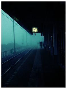 TooLate (via myrte voogt)  foggy, blue, train station  // violaviolet:j-p-g