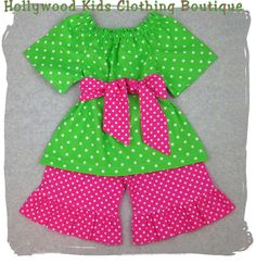 Custom Children Boutique Unique Handmade Cute Little Newborn Infant Toddler Baby Girl Clothes Clothing Lime N' Polka Dot Peasant Dress Top  Sash Matching Pink Polka Dot Ruffle Pant Bottom Outfit