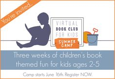 Virtual Book Club for Kids Summer Camp 3 weeks filled with fun summer Activities for Ages 2-5 plus membership to our VBC Facebook Community.