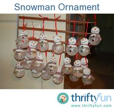 Clear glass ornaments and styrofoam balls makes this cute snowman ornament. You can either use a bigger glass clear ball ornament or a smaller one, just make what size you use, have the head part smaller.