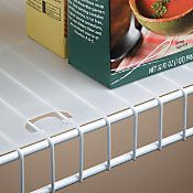 Do small items fall through your wire shelving? Cover the wire shelves with this shelf liner to provide a smooth surface. This shelf liner with locking tabs stays secure and won't slide. Use liner for wire shelving in the kitchen or laundry room.