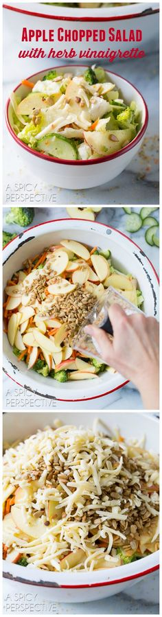 Our Favorite Apple Chopped Salad with Herb Vinaigrette on ASpicyPerspective.com #salad #healthy