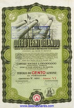ODERO TERNI ORLANDO S.A. / GENOVA. The company was formed in 1926 to build warships and guns. Large format design shows large Italian naval ships with big guns, at sea. Elaborate design on the reverse.1. 100 Azioni da L.200, Serie VI, cat. A, green. 2. Same, 25 Azioni, Serie IV, brown 1940