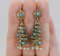 Antique Victorian 14K Yellow Gold Turquoise and Pearl Large Dangle Drop Earrings