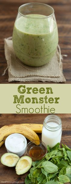 Filled with nutritious fruits and vegetables, we call it a Green Monster Smoothie because it it has all kinds of healthy goodness and it tastes delicious! | Recipe at MealPlanningMagic.com