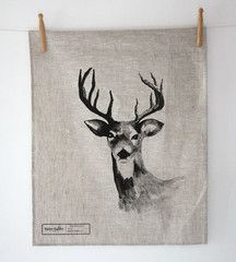 Deer Tea Towel - Oatmeal