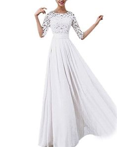 ZANZEA Women's Sexy Summer Chiffon Lace Formal Wedding Ball Evening Party Maxi Dress White US 18 Material:Chiffon+Lace Color:Blue/Green/Pink/White Package include: 1 Dress,Soft And Comfortable To Wear. This showstopping floor length Gown Empire will have all eyes on you at your special event  About Review: 1. We try to make sure you have a pleasant shopping experience with us, so that we could do more business with you. If there is any dissatisfaction, please email us before