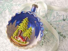 Diorama Ornament Italian Mercury Glass Indent by sugarplumsweet