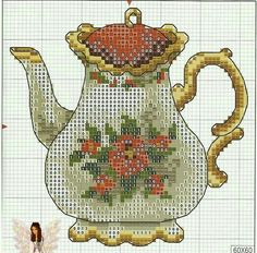 Jarra Cross Stitch Embroidery, Cross Stitch Patterns, Cross Stitch Kitchen, Cute Cups, Teapots And Cups, Stitch 2, Needlework, Projects To Try, Handmade