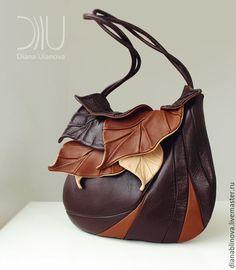 """Купить """"Листья макси"""" осенняя - разноцветный, сумка ручной работы, подарок женщине, Кожаная сумка"""