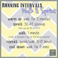 {WIOW} - How I Make Running Fun: Running Intervals - Walk & Sprint. Love this workout! Physical Fitness, Yoga Fitness, Sprint Intervals, Anaerobic Exercise, Interval Running, Track Workout, Perfect Body, Stay Fit, Fitness Models