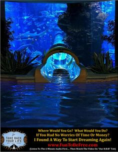 Water Slide through Shark Tank at Golden Nugget in Las Vegas.