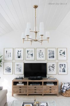 Simple idea for decorating around the TV - an art wall with same sized prints and frames!