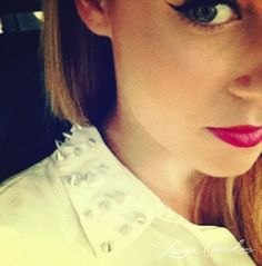 studded collar + winged liner and a pink lip #laurenconrad