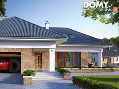 Odbicie lustrzane, Aksamit 2 projekt domu - Jesteśmy AUTOREM - DOMY w Stylu Modern Bungalow Exterior, Modern Bungalow House, Modern House Design, Round House Plans, House Outside Design, Beautiful House Plans, Model House Plan, Village House Design, House Design Pictures