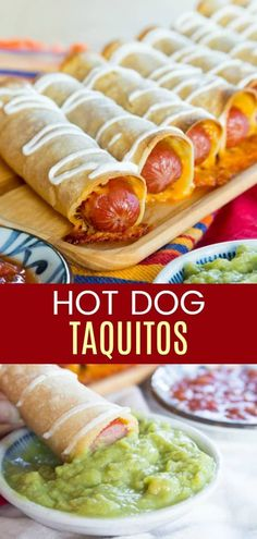 recipes for kids Cheesy Hot Dog Taquitos - a kid-friendly quick and easy dinner recipe or a fun party appetizer. You only need four ingredients to make these baked Mexican hot dogs, and they are ready in less than 30 minutes. via cupcakekalechip Appetizers For Kids, Appetizers For Party, Bacon Appetizers, Easy Snacks, Easy Meals, Easy Dinners For Kids, Enchiladas, Easy Kid Friendly Dinners, Kid Friendly Appetizers