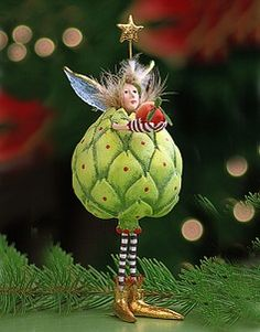 Details about Patience Brewster Christmas Holiday Harvest Ornament – Artichoke - Whimsical Christmas, Christmas Fairy, Christmas Holidays, Christmas Crafts, Christmas Decorations, Gourd Art, Fairy Dolls, Xmas Ornaments, Whimsical Art