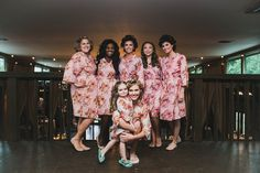 Pink Floral Posy Robes for bridesmaids | Getting Ready Bridal Robes - Robes by silkandmore