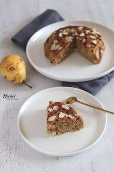 Oatmeal pear, almond and chocolate cake - Rachel cuisine - - Chocolate Zucchini Bread, Healthy Banana Bread, Chocolate Cake, Almond Chocolate, Petit Dej Vegan, Banana Bread French Toast, Artisan Bread Recipes, Vegan Treats, Healthy Snacks For Kids