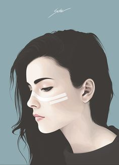 """Up 4"" - Yuschav Arly {beautiful female head profile woman face portrait digital painting #loveart}"