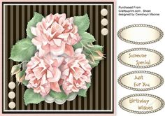 Lovely Pink Roses on striped Mono mat  by Ceredwyn Macrae A lovely card with pink roses on a striped mono mat has three greeting tags ad a blank one