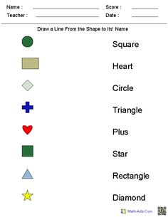 Matching Shapes to Their Names Worksheets