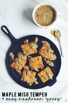 This Maple Miso Tempeh with Easy Mushroom Gravy is a simple and delicious way to go meatless on Thanksgiving without missing out on flavor! Healthy Thanksgiving Recipes, Vegetarian Thanksgiving, Vegetarian Options, Vegetarian Recipes, Healthy Recipes, Healthy Food, Creamed Mushrooms, Stuffed Mushrooms, Recipes Using Tofu