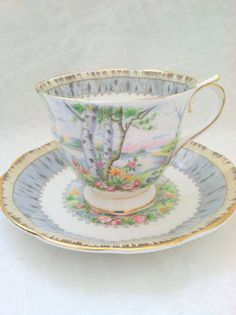 Royal Albert Silver Birch teacup & saucer