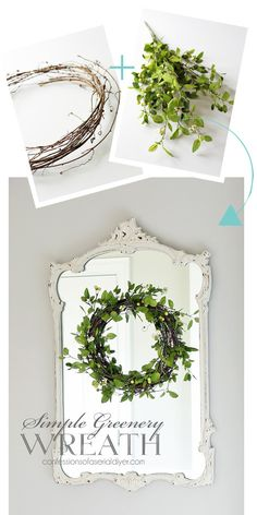 Do It Yourself Houseboat Strategies - Building Your Own Houseboat How To Make A Simple Greenery Wreath From Greenery Wreath, Hydrangea Wreath, Burlap Wreaths, Door Wreaths, Decor Crafts, Diy Home Decor, Diy Crafts, Wood Crafts, Rustic Farmhouse Decor