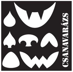 Pumpkin themed stencil cutout activity downloadable with parts of face in many shapes: eyes, nose, mouth.