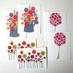 6 Botanical Postcards with Envelopes by CarolineRoseArt on Etsy, £5.00