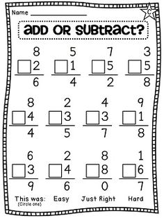 Choosing an operation - add or subtract - differentiated worksheets