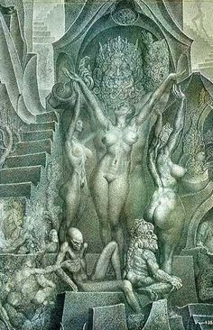 Ernst Fuchs was born on 13 February in Vienna. His father, Maximilian Fuchs, son of an orthodox Jewish family, had turned down a career a. Vienna School Of Fantastic Realism, Giger Art, Anime Sensual, Demon Art, Fantasy Art Women, Occult Art, Arte Popular, Pulp Art, Surreal Art