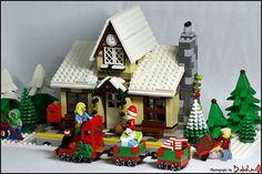Lego Christmas Train, Lego Christmas Ornaments, Lego Christmas Village, Lego Winter Village, Lego Village, Christmas Scenery, Christmas Villages, Christmas Time, Lego Projects