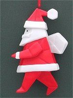 Origami Santa with Sack and other various christmas origami ornaments