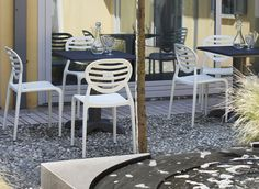 "Contemporary Italian garden patio chair designed by famous designer Luisa Battaglia ""Cool"" by Scab. Air moulded polypropylene frame reinforced with fibreglass. Available in several colours. Stackable. For indoor/outdoor use."