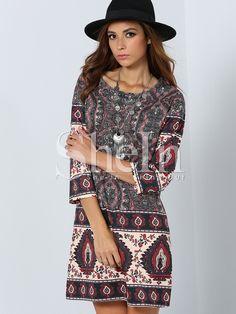 Multicolor Round Neck Vintage Print Dress -SheIn(Sheinside)