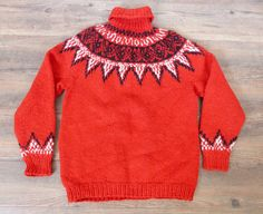 Vintage 1970's Ski Sweater Red with Black & by PineCoastSalvage