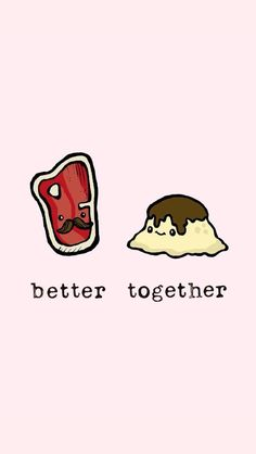 better together wallpaper; Cute Wallpaper Backgrounds, Cute Cartoon Wallpapers, Kawaii Drawings, Cute Drawings, Cute Food Wallpaper, Best Friend Wallpaper, Funny Puns, Better Together, Illustrations