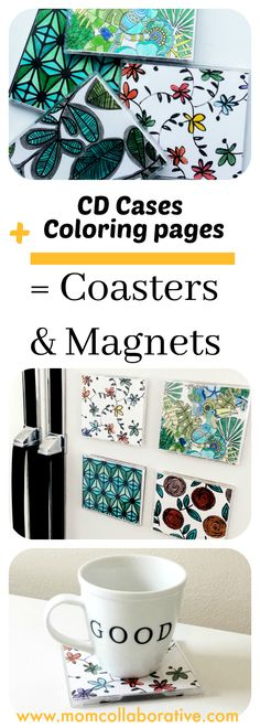 DIY coasters and magnets made using coloring pages!