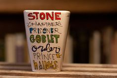 Simple Harry Potter book titles mug. Hand painted and adorable. I want it so badly!